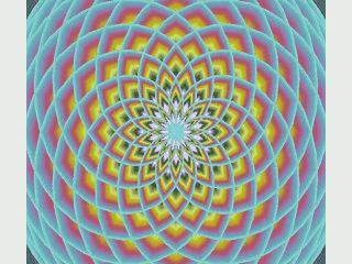 Screensaver der hypnotische Muster zeigt, die an Lotusblumen erinnern.