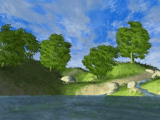 Einfache animierte Seelandschaft als Bildschirmschoner.