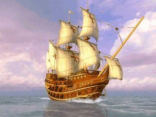 In diesem Bildschirmschoner unternehmen Sie eine Reise mit Magellans Schiff.