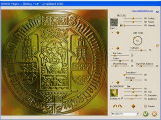 Emboss Filter mit zusätzlichen Licht- und Störungsfiltern sowie Texturen.
