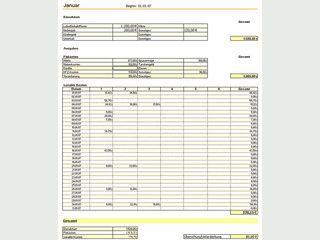 Haushaltsbuch für MS Excel oder kompatible Tabellenkalkulationen.