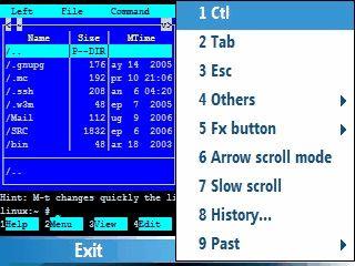 Telnet Client für VT100, SSH1 und SSH2 Verbindungen via PDA.