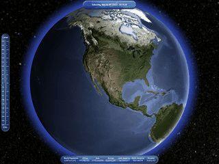Animierte Erde mit realistischen Klimabedingungen.