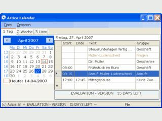 Für Arbeitsgruppen geeigneter, einfacher Kalender mit integrierter SQL-Datenbank