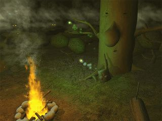 Eine mystische Waldkulisse mit animiertem Lagerfeuer.
