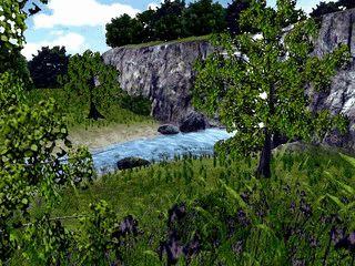 Ein animierter Wasserfall in einer schönen Landschaft.