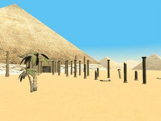 Der Bildschirmschoner zeigt eine virtuelle Reise durch die Pyramiden.
