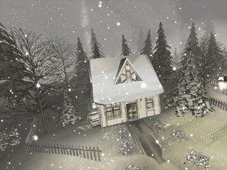 Eine animierte, verschneite Landschaft.