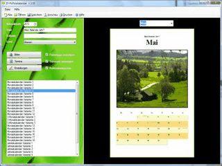 Erstellung und Ausdruck von Kalendern mit eigenen Terminen, Feiertagen usw.