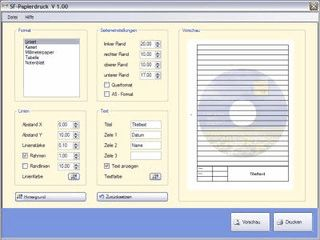 Druckt liniertes, kariertes Papier, Tabellen, Millimeterpapier und Notenblätter
