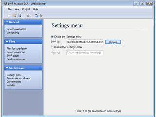 Konvertiert eine SWF Flash-Datei in einen Windows Screensaver.