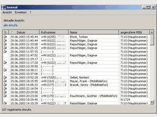 ISDN Anrufmonitor mit automatischer Zurückweisung selektierter Rufnummern.