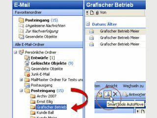 Emails per Mausklick automatisch in gewünschte Ordner verschieben.