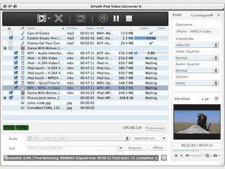 Konvertierung von Audio- und Videodateien für die Verwendung auf dem iPod.