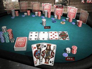 Gelungenes Texas Hold'em Poker mit Tutorial. Einzelspieler oder via Internet.