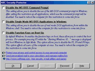 Sperrt den Zugriff auf die DOS Kommandozeile.