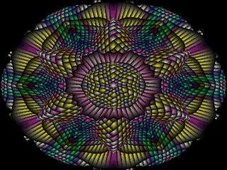 Der Bildschirmschoner erinnert an den Blick durch ein Kaleidoskop.