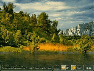 Animierte Naturlandschaft mit News aus RSS-Feeds und Wetterdaten.