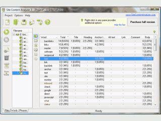 Software zur Analyse der verwendeten Keywords auf einer Website.