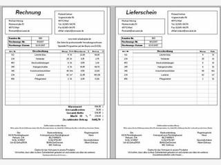MS Excel Tabelle zur Erstellung von Rechnungen.