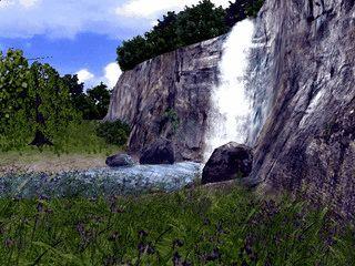 Kamerfahrt durch animierte Landschaften mit Tieren, Pflanzen und Wasserfällen.