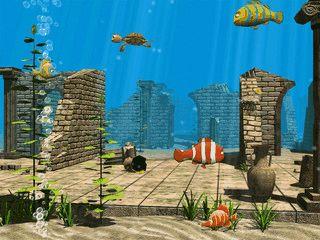 Animimierte Fische in verschiedenen Untererwasserwelten.