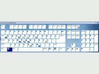 Virtuelle Tastatur die mit der Maus bedient werden kann.