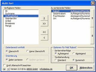Mehr als 3 Felder in MS Excel Tabellen gleichzeitig sortieren.