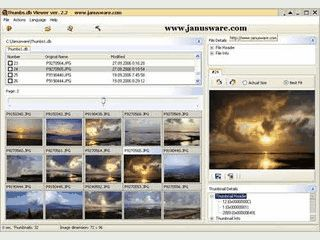 Das Tool zeigt Inhalte von thumb.db Dateien an.