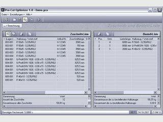 Berechnung der Zuschnittoptimierung von Profilen und Stangenmaterial