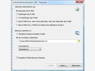 Email-Adressen und Adressdaten aus Emails auslesen und als Kontakt speichern.
