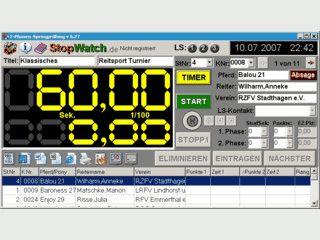 Software zur elektronischen Zeitnahme und Punkteverteilung bei Reitprüfungen.