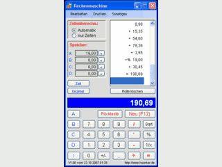Rechner mit Journalfunktion der auch mit Uhrzeiten rechnen kann.