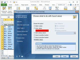 Sucht und entfernt, oder verschiebt doppelte Einträge in Excel Tabellen.