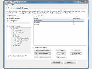Ordnerinhalte und Dateilisten drucken oder speichern.