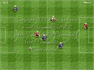 Der Bildschirmschoner zeigt ein 3D animiertes Fußballspiel mit vielen Optionen.
