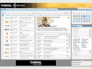 Umfangreicher, digitaler Programmplaner mit Daten für über 150 TV-Sender.