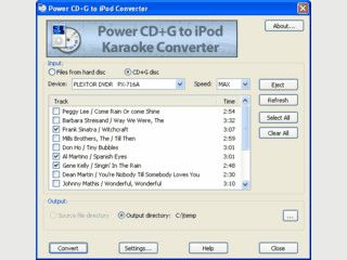 Konvertiert CD+G Karaokedateien in iPod Karaoke-Videos.
