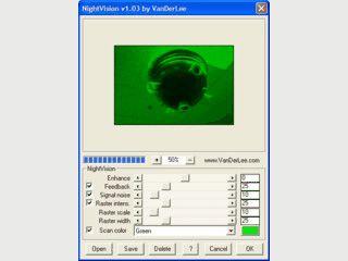 Filter der den Blick durch eine Nachtsichtbrille imitiert.