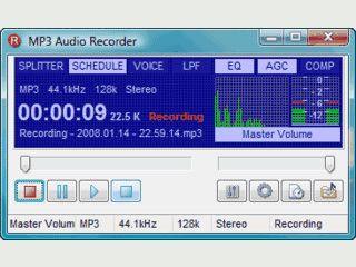 Audiorecorder zur Aufnahme von Audiodaten via Soundkarte.