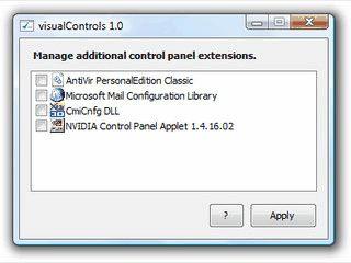 Deaktiviert zusätzliche Einträge in der Windows-Systemsteuerung.