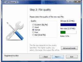 Ändert die Kompressionsrate und damit die Dateigröße einer MP3 Datei.