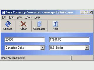Währungsrechner der seine Wechselkurse automatisch aktualisiert.