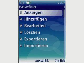 Passwortverwaltung für das Handy.