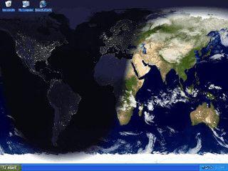 Aktives Desktophintergrundbild mit Wetterdaten und Satellitenbild.