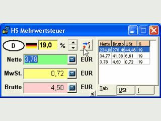 Einfache Mehrwertsteuerberechnung für diverse Mehrwertsteuersätze in Europa