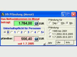 Pfändungstabelle die Zeit von 2005 bis Juni 2011