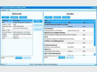 Stichwortverwaltung mit Querverweisen zu Quellen und Inhalten.