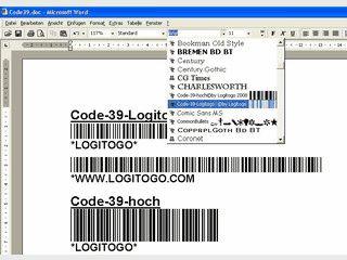 Code-39-Logitogo TrueType-Schriftfont zur Erstellung von Strichcodes