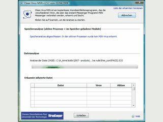 Tool zum Suchen und Entfernen von MSN Messenger Viren.